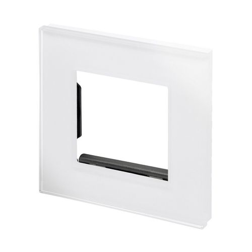 RetroTouch Euro Data Plate Single (2 Module Space) White Glass PG 00173